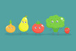 Cute cartoon fruits and vegetables. Vector flat illustration. - 216509885