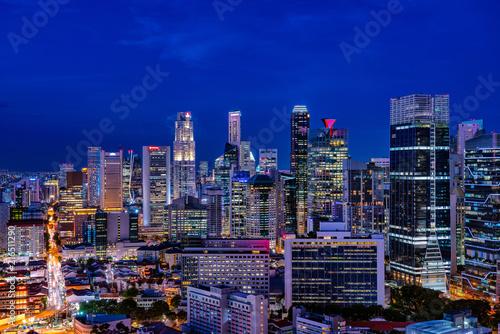 シンガポールの摩天楼の夕景