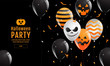 Halloween Banner ,Ghost , Scary ,spooky ,air balloons, template Vector illustration.