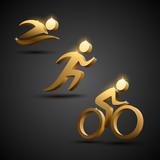 Triathlon golden icons