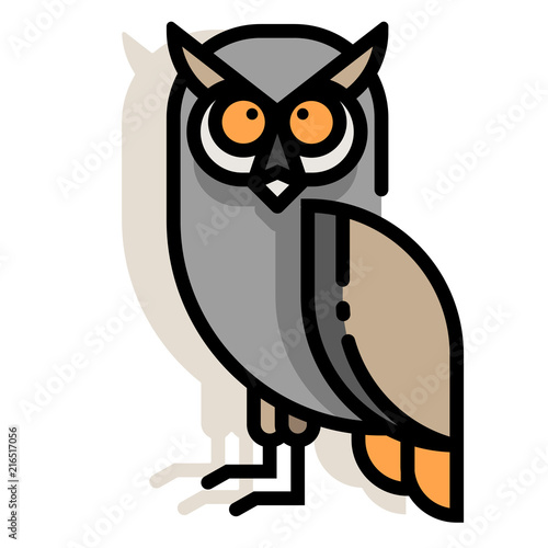 Fotobehang Uilen cartoon Owl LineColor illustration