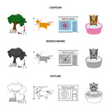 Walking with a dog in the park, combing a dog, a veterinarian office, bathing a pet. Vet clinic and pet care set collection icons in cartoon,outline,monochrome style vector symbol stock illustration - 216518801
