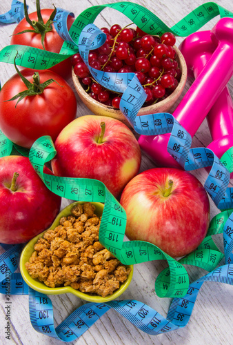 Foto Murales Proper nutrition. Healthy diet, weight loss - concept of healthy eating.