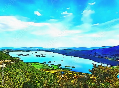 Foto Spatwand Lichtblauw Oil painting. Art print for wall decor. Acrylic artwork. Big size poster. Watercolor drawing. Modern style fine art. Wonderful mountain landscape. Blue sky. Wild nature. Beautiful lake.