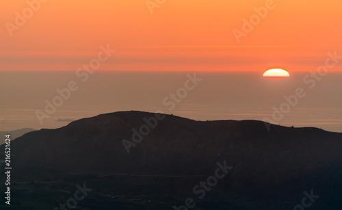 Canvas Oranje eclat Sunset over the Mediterranean Sea in Oran, Algeria