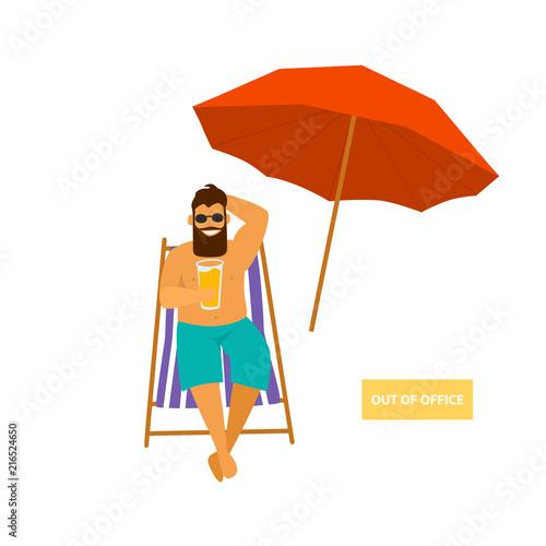 Wall mural man sitting in sun chair enjoying summer vacations