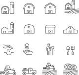 Barn Line Icons Set Vector Illustration , Farmer And Village Farm - 216530609