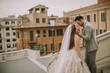 Quadro Young wedding couple on Spanish stairs in Rome, Italy