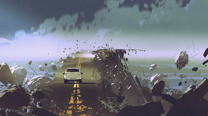 car on the broken asphalt road in the place without gravity, digital art style, illustration painting © grandfailure