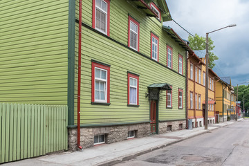Tallinn in Estonia, wooden colorful houses, typical facades