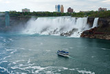 NIAGARA FALLS, ONTARIO, CANADA - MAY 20th 2018: View of the American Falls is the second-largest of the three waterfalls that together are known as Niagara Falls on the Niagara River along the Canada