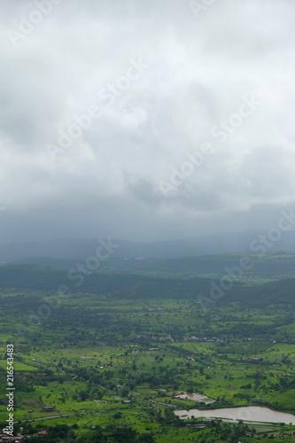 Canvas Wit Lush green monsoon nature landscape mountains, hills, Purandar, Pune, Maharashtra, India