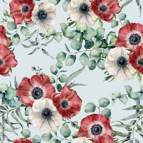 Watercolor seamless pattern with eucalyptus leaves and anemone. Hand painted red and white anemones, green brunch on blue pastel background. Floral botanical illustration for design or background. - 216549681