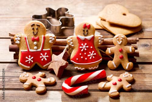 Christmas baking. Homemade gingerbread cookies.