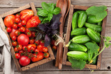 Fresh garden tomatoes and cucumbers - 216555449