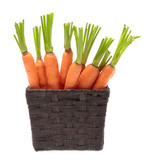 fresh baby carrot in  basket  isolated on white background.