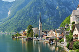 Picture-postcard view of famous Hallstatt mountain village in the Austrian Alps. Hallstatt, Austria. Neutral colors.