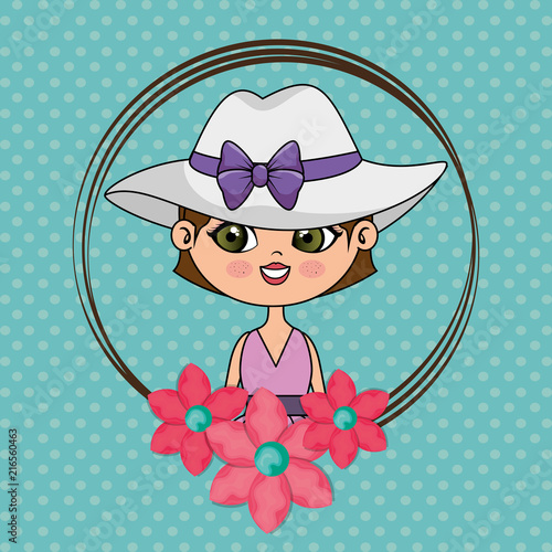 beautiful girl with floral frame kawaii character vector illustration design - 216560463