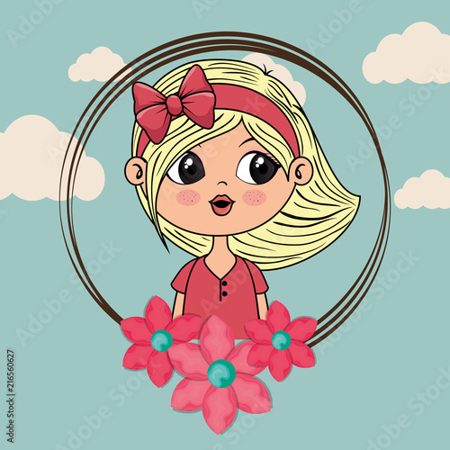 beautiful girl with floral frame kawaii character vector illustration design - 216560627