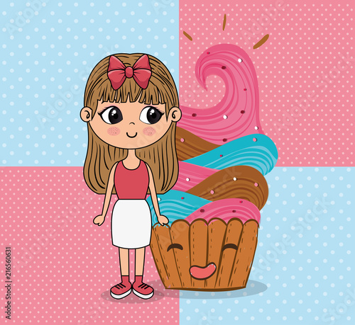 beautiful girl with cupcake kawaii characters vector illustration design - 216560631