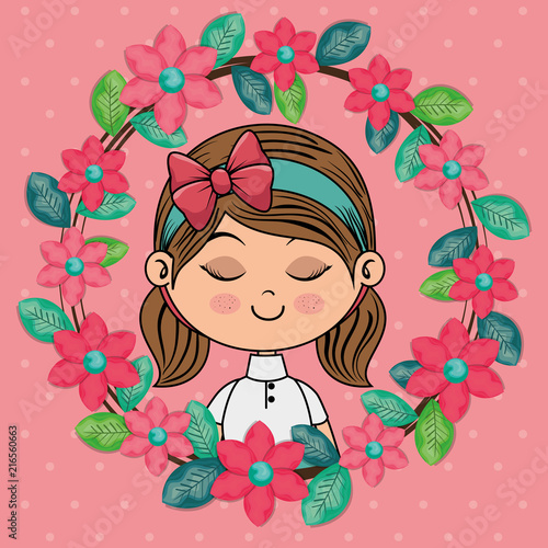beautiful girl with floral frame kawaii character vector illustration design - 216560663