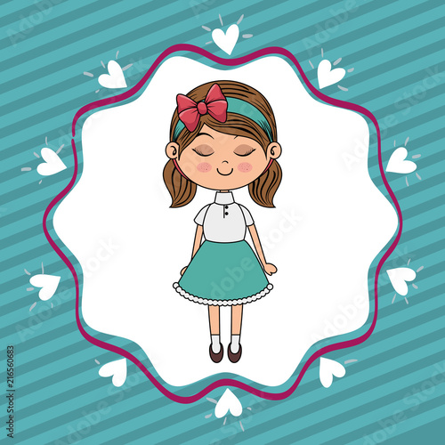 beautiful girl with hearts lace kawaii character vector illustration design - 216560683
