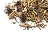 Dried Echinacea root Purpurea isolated on white - 216560847