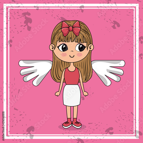 beautiful girl with wings kawaii character vector illustration design - 216560818
