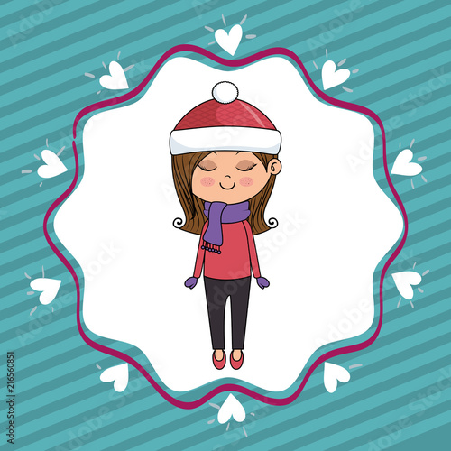 beautiful girl with hearts lace kawaii character vector illustration design - 216560851
