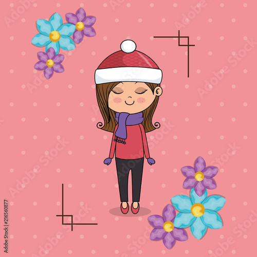 beautiful girl with floral frame kawaii character vector illustration design - 216560877