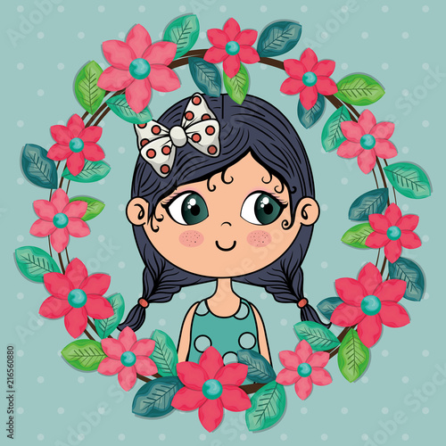 beautiful girl with floral frame kawaii character vector illustration design - 216560880