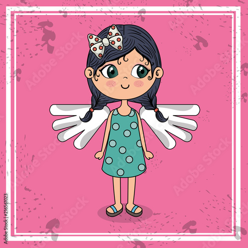beautiful girl with wings kawaii character vector illustration design - 216561023