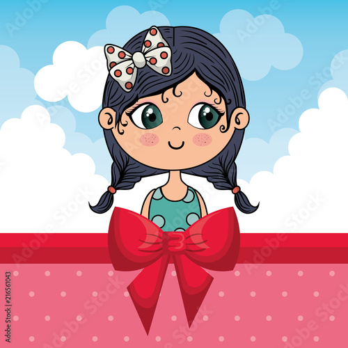 beautiful girl with clouds and bown ribbon vector illustration design - 216561043