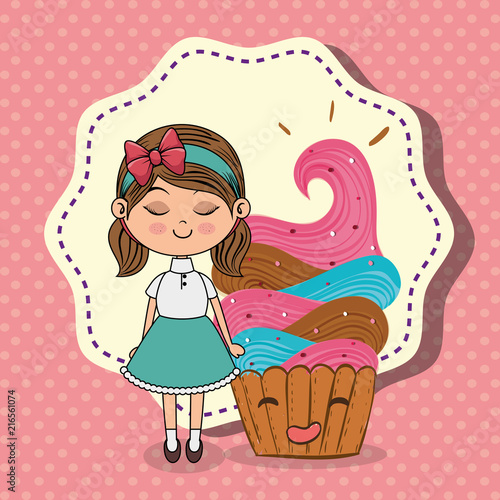 beautiful girl with cupcake kawaii characters vector illustration design - 216561074