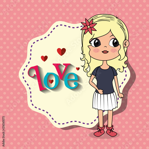 beautiful girl with love frame kawaii character vector illustration design - 216561075