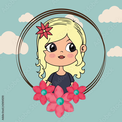 beautiful girl with floral frame kawaii character vector illustration design - 216561210