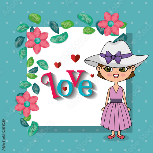 beautiful girl with floral frame kawaii character vector illustration design - 216561239