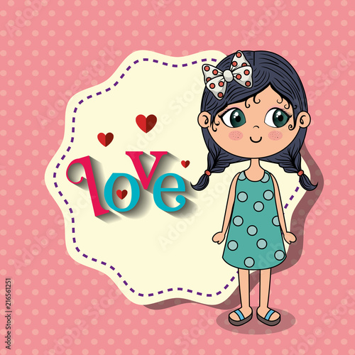 beautiful girl with love frame kawaii character vector illustration design - 216561251