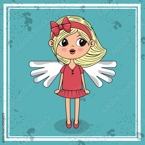 beautiful girl with wings kawaii character vector illustration design - 216561279