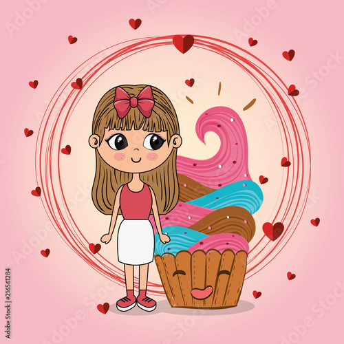 beautiful girl with cupcake kawaii characters vector illustration design - 216561284