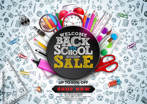 Back to School Sale Design with Colorful Pencil, Alarm Clock and other School items on Hand Drawn Doodles background. Vector School Illustration with Typography for Coupon, Voucher, Banner, Flyer - 216563441