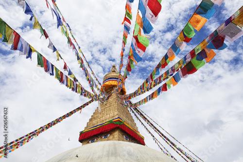 Fotobehang Boeddha Boudha Stupa in Boudhanath, Kathmandu, Nepal. Unesco World Heritage Site