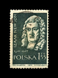 Isaac Newton (1642-1727), famous scientist, explorer, physicist, mathematician, mechanic, astronomer, circa 1959. vintage canceled postal stamp printed in Poland isolated on black background