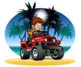 Vector cartoon boy driving 4x4 car on the beach