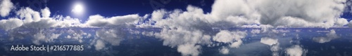 Panorama of the clouds. The sky with clouds and sun.