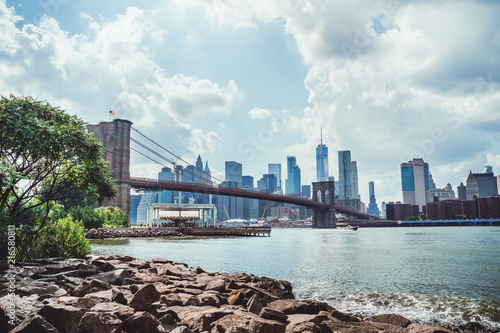 Plexiglas Brooklyn Bridge View of New York City