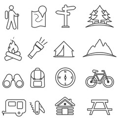 Leisure, camping, recreation and outdoor activities icon set