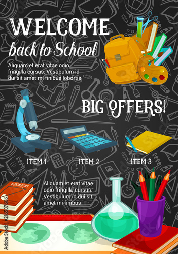 Foto Spatwand Hoogte schaal Back to school sale promotion poster template