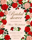 Wedding flower banner for bridal shower invitation