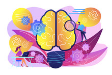 Human Brain  Gears Thinking And Users Creating Ideas And Thoughts Brainstorming Creativity And Business Ideas Thinking And Invention Concept Violet Palette   Illustration Sticker